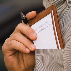 A Pocket Notebook with a pen that is handy to carry
