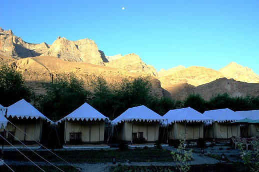 On this Day 5, after a long ride we reach Mulbegh and check into a camp. Here is a view of the camp in the early morning,