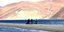 Pangong Tso lake is one of largest high altitude lake in the World. It is so beautiful and a symphony of colour blues. You would see this lake changing colors all day long.