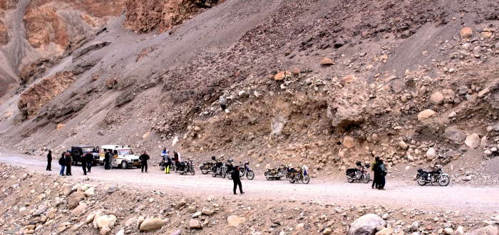 There are so many places on the ride into greater Himalayas, where you have to stop in the wilderness - middle of no where ..