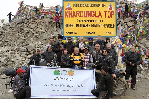 The Viktorianz riders atop the highest motorable pass in the World. That is the Guiness record.
